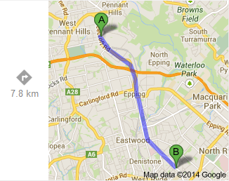 Beecroft to Denistone (Google)