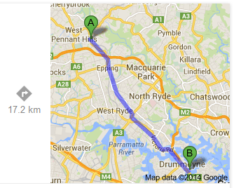 Beecroft to the Iron Cove Bridge, Drummoyne-Rozelle (Google)