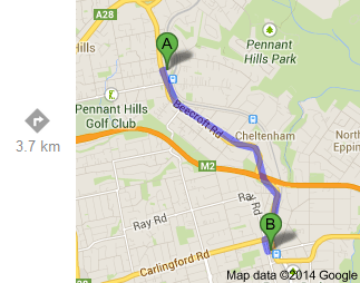 Beecroft to Epping (Google)