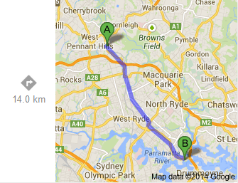 Beecroft to Gladesville Reserve (Google)