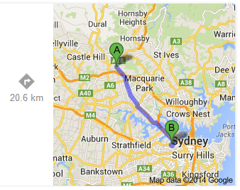 Beecroft to Rozelle Bay (Google)
