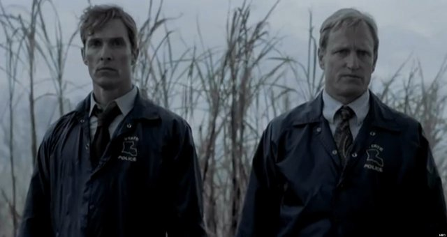 Rustin Cohle (Matthew McConaughey) and Martin Hart (Woody Harrelson), 'True Detective' (Grantland.com)