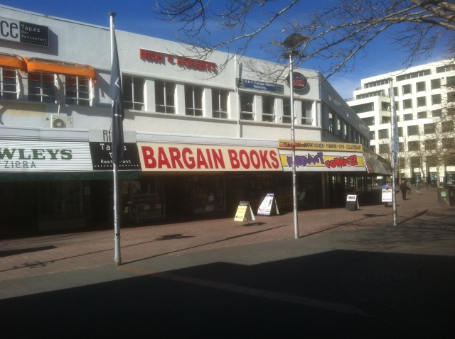Clouston & Hall Booksellers, Garema Place, Canberra, 22 August 2014 (Black and Blue Man)
