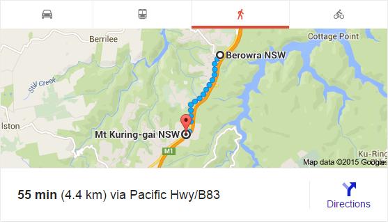 Berowra to Mount Kuring-gai (Google Maps)