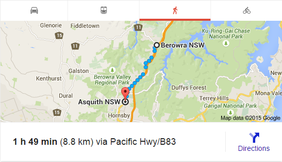 Berowra to Asquith (Google Maps)