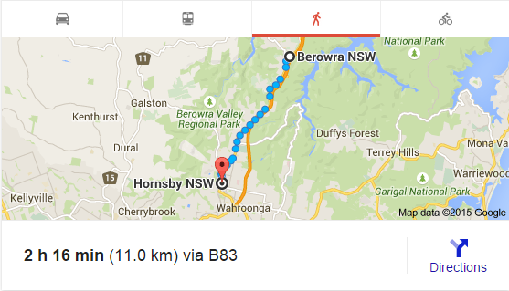 Berowra to Hornsby (Google Maps)